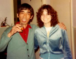 1980, with my Japanese penpal. The afro is half grown out by now.