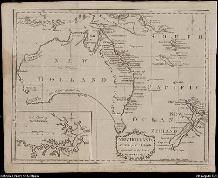 New Holland & the adjacent islands, agreeable to the latest discoveries [cartographic material]. 1790. MAP T 800.